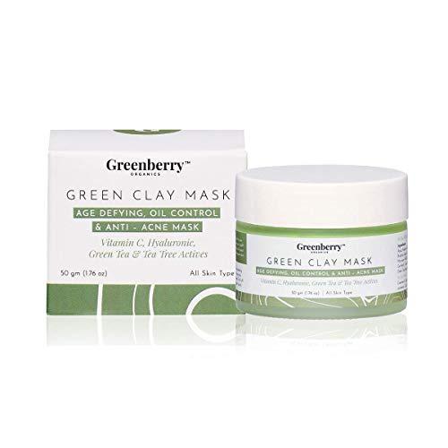 Greenberry Organics Brazilian Rainforest Green Clay Mask, Green Tea, Tea Tree, Vitamin C, Anti-Acne Mask, Skin Clarifying, All Skin Types, 50 Grams