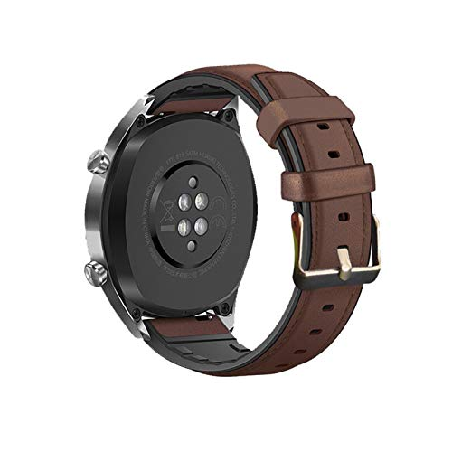 YGGFA Strap de Silicona de Cuero de 20 mm de 20 mm para el Reloj Huawei GT2E / GT2 46mm Honor Magic 2 Smart Band Pulsera Correas inoxidables para GT 2E (Band Color : Dark Brown, Band Width : 22mm)