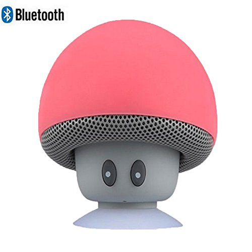 Leacoco Mini Wireless Portable Bluetooth Speakers with Mic and Sucker Portable Small Stereo for iPhone and Android System Equipment Etc. (Red)