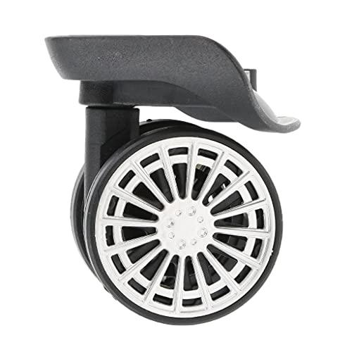 Diaod 4 Piezas Maleta Ruedas de Equipaje Reemplazo de reemplazo de Ruedas de silenciamiento Giratorio para Carro de Accesorios de Equipaje Negro Instalación fácil