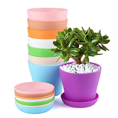 KINGLAKE 8 Pezzi di vasi da Fiori in plastica Colorata da 10 cm, usati per Fiori, Decorazione d'interni, Ufficio e vasi da Fiori con vassoi