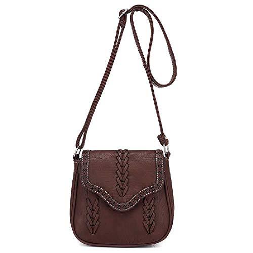Amiemie dames retro wind geweven hand-held schoudertas diagonaal crossbag 20 cm x 9 cm x 18 cm/donkerbruin