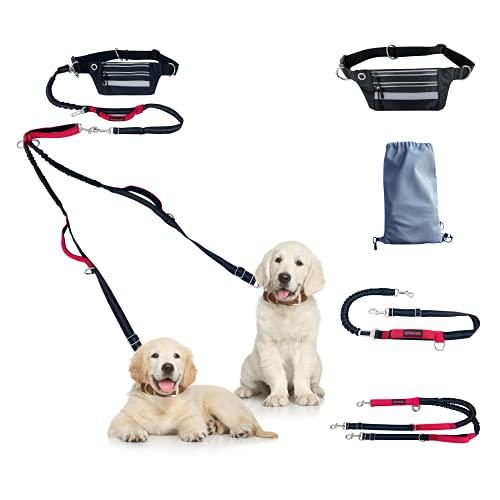 Danker Multifunktionale Hundeleine Taillengürtel Set mit Tasche für EIN/Zwei/DREI mittlerer und großer Hunde, verstellbar elastisch reflektierend Leine, verbindet Sicherheitsgurt im Auto (LeinenSet)