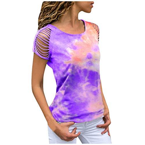 MRULIC Damen Kurzarm T-Shirt Rundhals Ausschnitt Lose Hemd Pullover Sweatshirt Oberteil Tops (EU-42/CN-XL, Rot2)