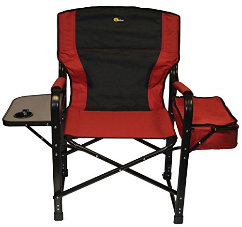 Faulkner 49582 El Capitan Folding Director Chair with Tray and Cooler Bag, Burgundy/Black