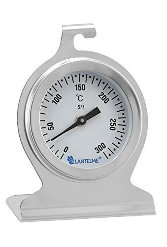 Lantelme 5843Termómetro de horno de 300 °C, acero inoxidable, para colgar y colocar en el horno, analógico