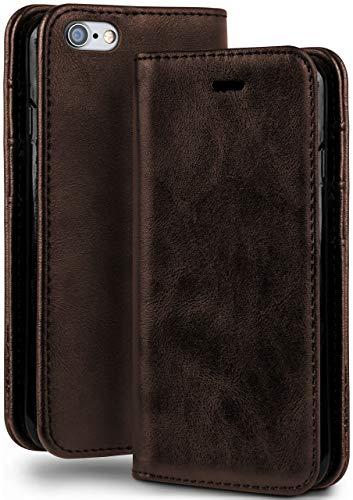 moex Booklet in Lederoptik - Kartenfächer & Aufstellfunktion kompatibel mit iPhone 6s / iPhone 6   Eleganter 360 Grad Vollschutz, Dunkel-Braun