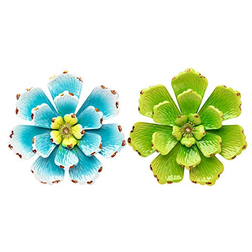 SONGXIN Metal Flower Home Accents Decor Wall Art Decorations Indoor or Outdoor Wall Sculptures Hanging for Bathroom Living Room Bedroom 12.2 Inch Blue+Green