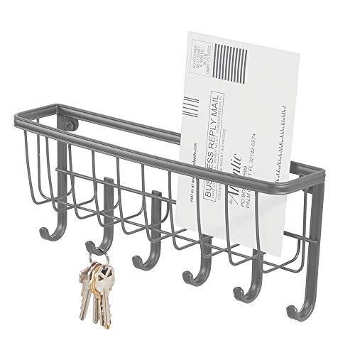 mDesign Hängekorb mit 6 Haken – kompakte Briefablage mit Schlüsselhaken aus Metall – platzsparende Hängeaufbewahrung für Flur und Eingangsbereich – Graphitgrau