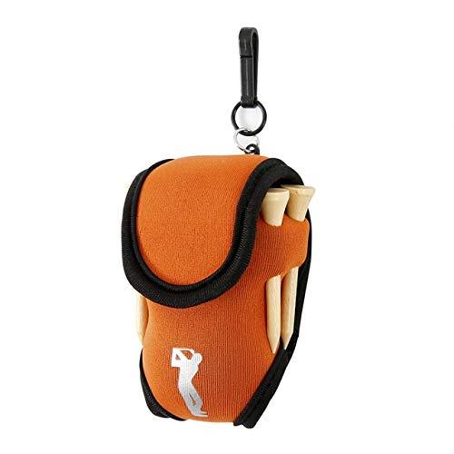 HATCHMATIC Tragbare Mini-Golf Bag 4 Tees und 2 Bälle Halter Neopren Mini Gürteltasche Outdoor-Ort Tool Pack Bälle Tees Zubehör # 127: orange