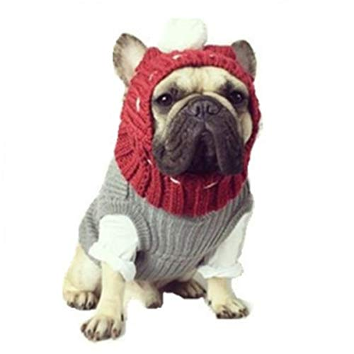Stock Show Winter Dog Warm Hat Christmas Pet Dog Cute Fashion Woolen Hat with White Pom-pom Ball Pet Headwear Headdress Valentines Day Costume for Small Medium Dogs French Bulldog, Red