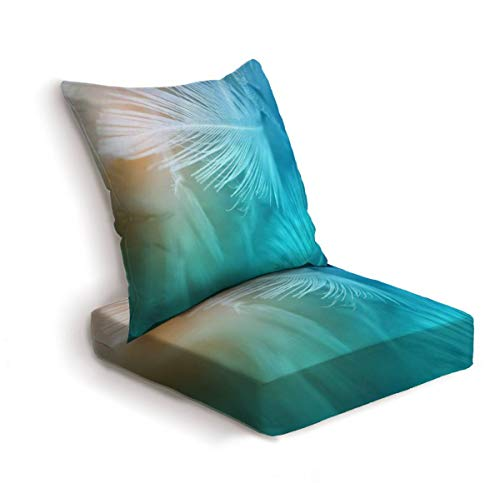 2-Piece Outdoor Deep Seat Cushion Set Green turquoise and blue color trends chicken feather texture Back Seat Lounge Chair Conversation Cushion for Patio Furniture Replacement Seating Cushion