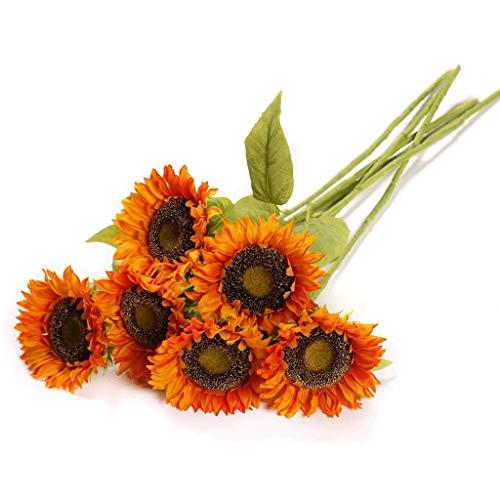 WXL Gefälschte Blume Künstliche Sonnenblume Simulation Bouquet Display Trockene Blume Wohnzimmer Gefälschte Blumendekoration Tisch Blumenschmuck Blume (Color : Orange, Größe : 80cm)