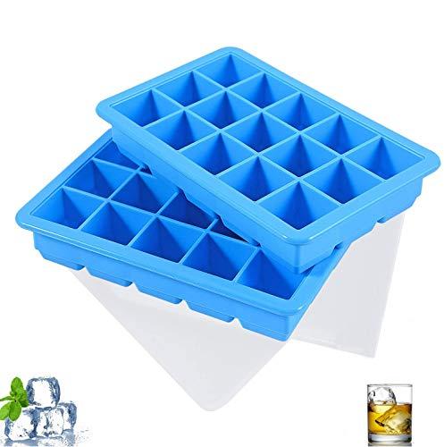 LessMo 15-Fach Eiswürfelform, 2er Pack große Silikon Eiswürfelbehälter mit Deckel, Platzsparend und stapelbar Ice Tray Ice Cube, LFGB Zertifiziert und BPA Frei Eiswürfelformen für Babynahrung Getränk