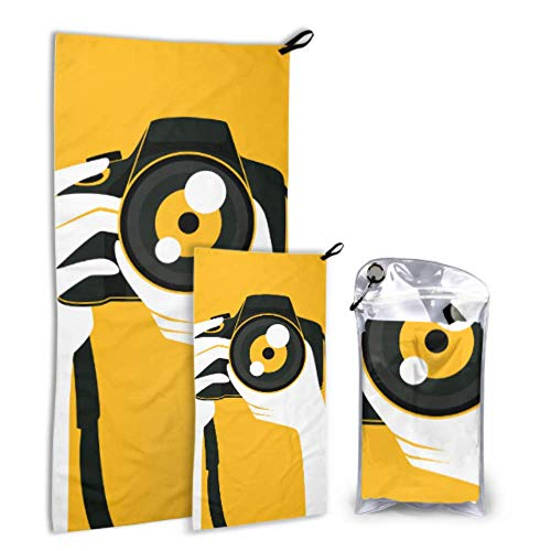 AIKENING Stylish Beautiful Looking Camera 2 Pack Microfiber Body Towel Bathroom Beach Towels Set Fast Drying Best for Gym Travel Backpacking Yoga Fitnes