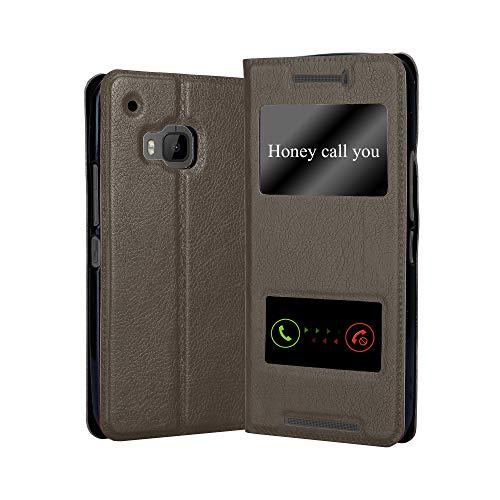Cadorabo Funda Libro para HTC One M9 en MARRÓN Piedra - Cubierta Proteccíon con Cierre Magnético, Función de Suporte y 2 Ventanas- Etui Case Cover Carcasa