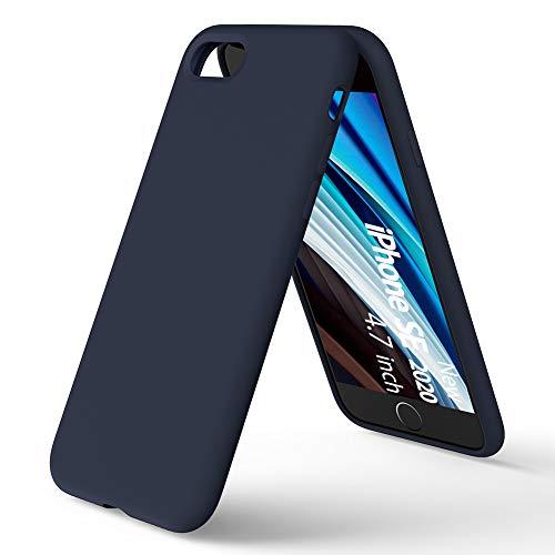 ORNARTO Coque Nouveau iPhone SE/7/8 en Silicone, Protection Complète du Corps, Liquid Silicone Cover Protection Bumper Anti-Choc Housse Étui pour Apple iPhone SE(2020) 4,7 -Bleu Nuit