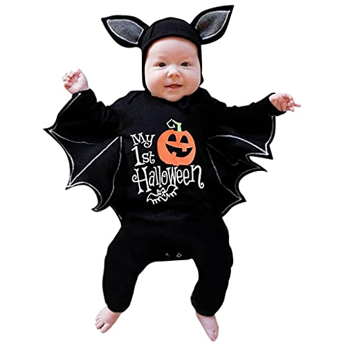 Fossen Kids Disfraz Halloween Niña Niño Bebe de Murciélago Manga Mameluco, Tops con Sombrero de Oreja - Otoño Invierno Moños Recien Nacido Lindo 3 Meses a 12 Meses