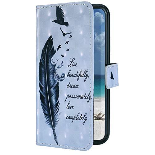 Uposao Kompatibel mit Samsung Galaxy S20 Hülle Leder Schutzhülle Brieftasche Handyhülle 3D Glänzend Bling Glitzer Hülle Klapphülle Flip Book Case Tasche Magnet Kartenfächer,Vogel Feder