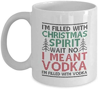 Gevuld met wodka voor Beste Vriend, Fantastische Grappige Kerst Geest Nieuwigheid Koffie Mokken 11 Oz Chrismtas Mokken voor Vriendje
