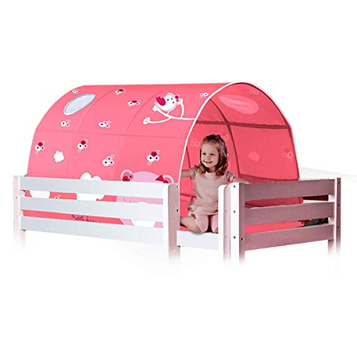 JZAMY Children's Tunnel Tent, Kids Play Bed Tent Tunnel Tent for Loft Bunk Bed, Fit for 90-100Cm Bed in Width, Boy Play House, Princess Bed Game House,Starry Sky,Pink