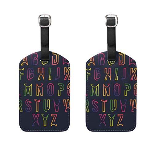 Gepäckanhänger, 2 Stück, tragbare Adress-Namensschilder, Kennzeichenschilder, kariert, Reisezubehör für Reisetasche, Koffer, Bunte Alphabet-Vorlage