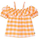 Nautica Girls' Cold Shoulder Top, Gingham Light Orange, 6
