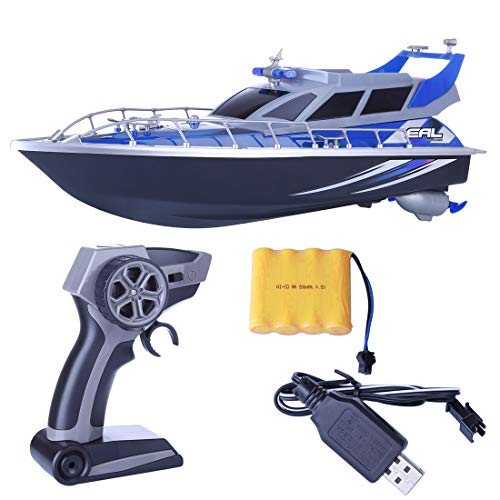 Foxcm Modell eines ferngesteuerten Bootes, 1:20 4CH Rc Polizeiboot ferngesteuertes Boot Patrol Craft Modell Spielzeug