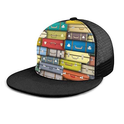 Gorra de béisbol Maletas Coloridas Modernas Viaje de la Vendimia Impreso en 3D Gorras de béisbol Ajustables Unisex Hip Hop Snapback Flatbrim Sombreros Negro