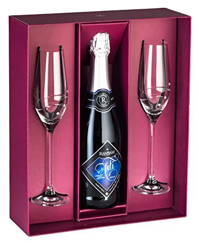 Barski - Handmade Glass - Set of 2 Champagne Flutes with Empty...