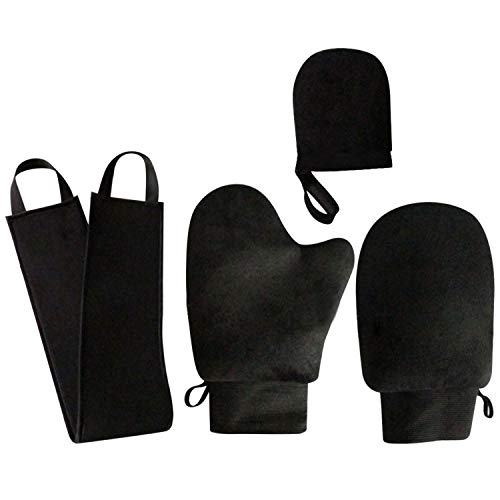 2 STKS Massaal Zelfbruiner Applicator 1 STKS Exfoliërende Handschoen 1 STKS Terug Applicator voor Spray Mousse Olie Zonnebrandcrème Body Lotions