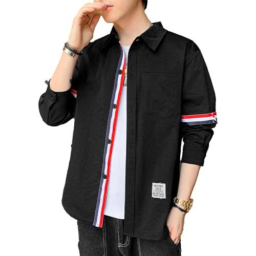 Camisa para Hombre, Moda, Contraste de Color, Costura, Suelta, cómoda, Tendencia, Todo fósforo, Primavera y...