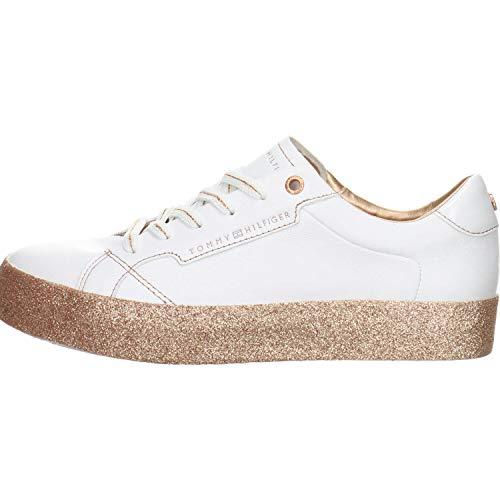 Tommy Hilfiger Damen Sneaker Glitter Foxing Dress Weiß Leder/Synthetik-Mix 38