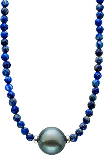 ch.abramowicz facettierte dunkelblaue lapislazuli edelstein kette collier schwarze tahitiperle 10MM 38+7cm