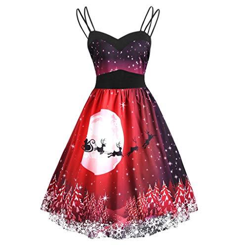 Zegeey Damen Kleider Ohne Arm Schulterfrei Elegant Weihnachtskleid Casual A-Linie Minikleid Mit Christmas Print Ballkleider Party KostüM Festival Karneval Kleid Weihnachtsdeko(A7-rot,5XL)