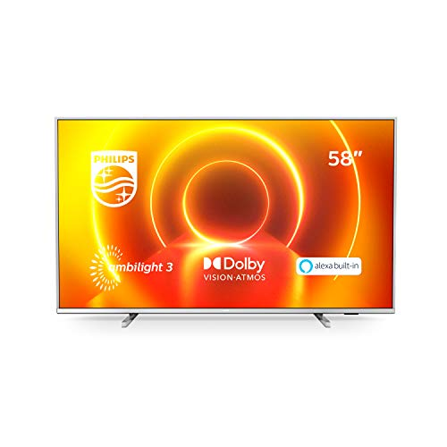 Philips TV Ambilight 58PUS7855 12-58  4K UHD TV LED (Processore P5 Perfect Picture, HDR10+, Dolby Vision∙Atmos, Smart TV, Alexa Integrata) Argento Chiaro - Modello 2020 2021