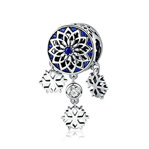 Colgantes De Plata 925 para Mujer,Personalidad Chainless Moderno Blue Dream Catcher Snowflake Borla Forma Encante para Señoras Vacaciones Regalo Regalo De San Valentín Navidad Regalo Joyería AC