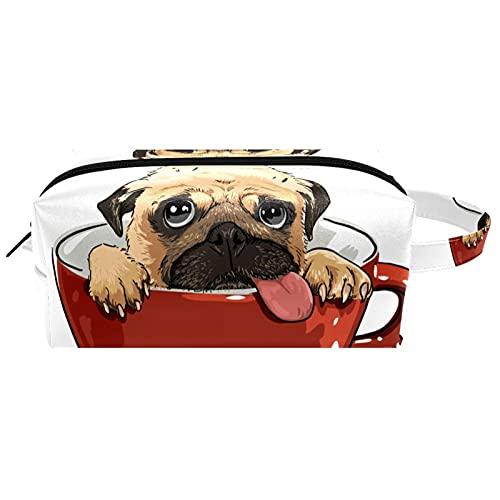 Bolsa de Cosméticos Perro Taza roja Bolsa de Maquillaje Bolso Cosmetico Multipropósito con Cierre de Cremallera, Viajes Organizador 21x8x9 cm