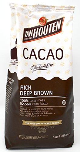 Van Houten - Reiches dunkelbraun Kakao Masse Pulver (52-56% Kakaobutter) 1 kg