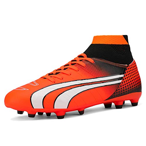 DREAM PAIRS Men's 160862-M Orange Black White Cleats Football Soccer Shoes - 12 M US
