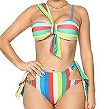 Conjunto Bikini Sujetador Bragas Bañador 2 Piezas, Set de bikini sexy de mujer Stey Rainbow Stripe 2 piezas Traje de baño Damas Un Hombro Sujetador Top Tize Side Cuttout Thong Bill Bathing Traje Natac
