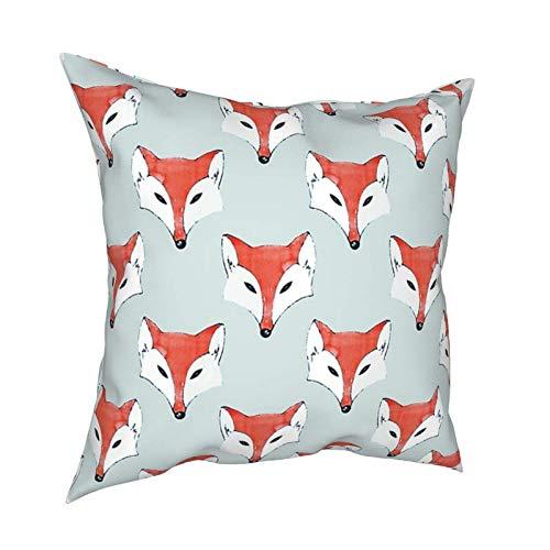Throw Pillowcase Case Pillow Shell Decorative Square Throw Pillow Cover Cushion Covers Pillowcase Fox Pattern On Sage Home Decor