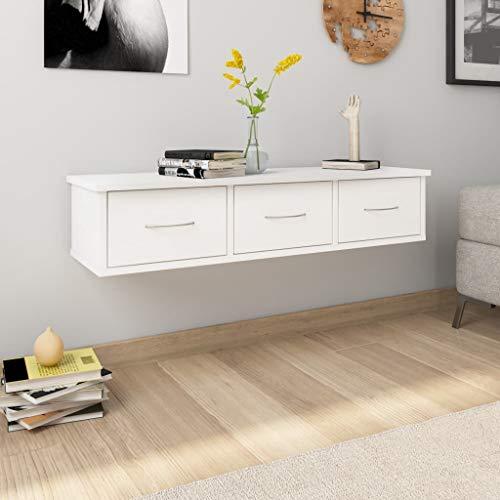 vidaXL Estante con Cajones de Pared Aglomerado Casa Hogar Decoración Diseño Bricolaje Mobiliario Mueble Estantería Repisa Balda 88x26x18,5 cm Blanco 🔥