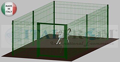 ITALFROM .clôture-Box modulaire pour Chiens en Fer galvanisé et Verni Vert avec poteaux à Enfiler – 200 x 400 x 102 H cm