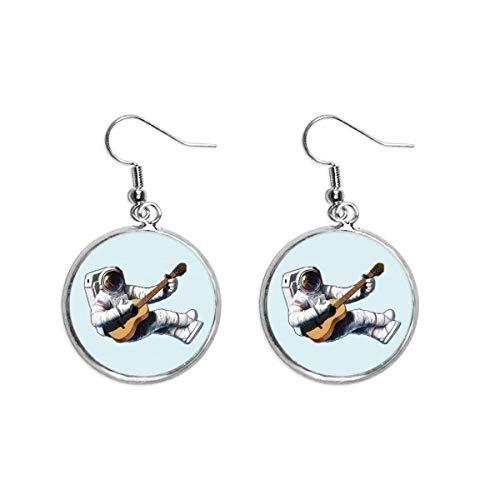 Ohrhänger für Damen, klassisches Instrument, Gitarre, Astronauten-Design, silberfarben
