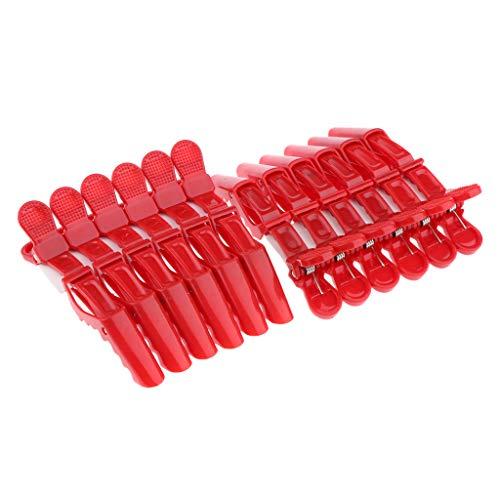 Freneci 12 Pcs Cheveux Styling Clips Pinces Vague Coiffure Perm Outil De Coiffure - rouge