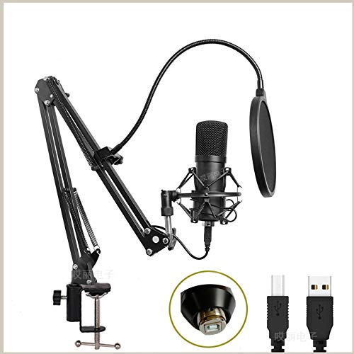 UMBRANDED USB Microphone 192KHz/24Bit, bm800 Streaming Microphone Kit with Professional Sound Chipset Desktop Stand Shock Mount Pop Filter for Gaming Recording BH-800usb schwarz und weiß