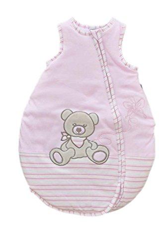 Jacky Mädchen Baby Ganzjahres Schlafsack Ärmellos, 100% Baumwolle, Rosa/Ringelstreifen, Gr. 50/56, 350012