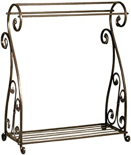 Welcome Home Accents Aged Bronze Scrolled Metal Quilt Rack with Shelf