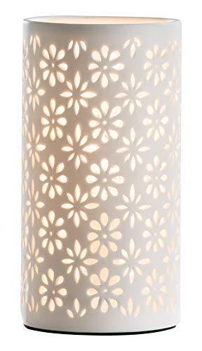 GILDE Lampe Zylinder Blume - aus Porzellan in weiß im Prickellook H 28 cm